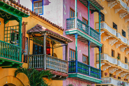 colorful houses of old town in Cartagena Colombia