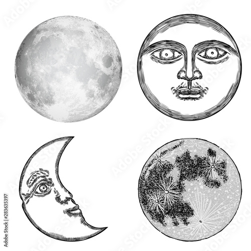 Set of hand drawn sketch of moon human like face or