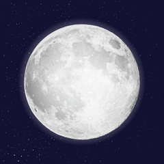 Realistic full moon isolated. Shiny on dark blue space background in cosmos or stars. Astrology or astronomy planet design. Tattoo flesh design. Vector