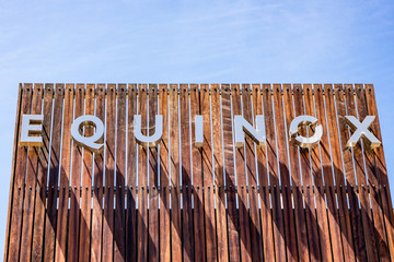 August 8, 2019 Palo Alto / CA / USA - Equinox sign displayed at the upscale gym; Equinox is a subsidiary of Equinox Fitness, an American luxury fitness owned by The Related Companies, L.P.