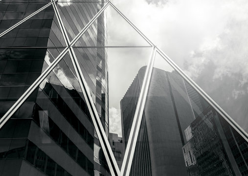 Modern Commercial Building close up ; Black and White style