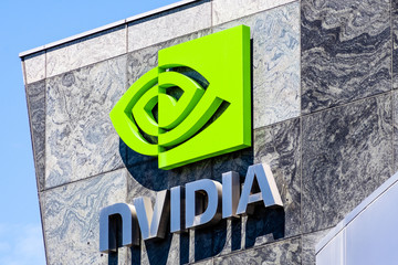 August 9, 2019 Santa Clara / CA / USA - The NVIDIA logo and symbol displayed on the facade of one of their office buildings located in the Company's campus in Silicon Valley