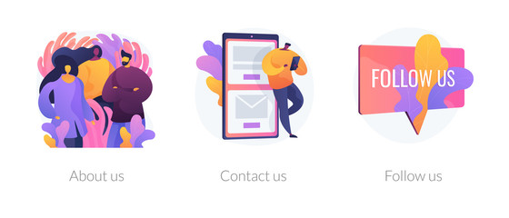 Customer loyalty and technical support web icons set. Clients hotline. Website information. About us, contact us, follow us metaphors. Vector isolated concept metaphor illustrations