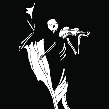 Human skeleton with hat and violin. Black and white silhouette.