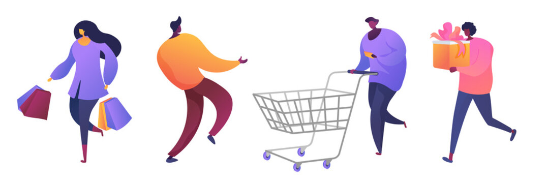 Store customers flat vector illustrations set. Happy buyers, excited shopaholics cartoon characters. Men and women go shopping. Ladies holding purchases, bags and present. Guy with trolley and list