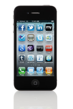 Social Media App Icons on Apple iPhone 4 - Isolated on White Background