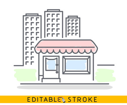 Building of small shop or company and big residential or business skyscrapers. Sketch line flat design of commerce architecture. Storefront illustration concept. Editable outlines stroke. - Vector