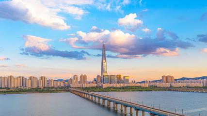 Fotobehang Seoel Seoul City and Han River South Korea