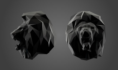 Lion in Black and White. Dark Set of Lions. Low Poly Vector Greyscale Silhouette 3D Rendering