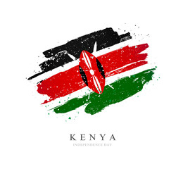 Kenya flag. Vector illustration on a white background.