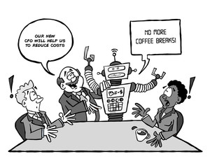 Robot CFO black and white