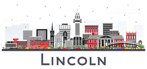 Lincoln Nebraska City Skyline with Color Buildings Isolated on White.