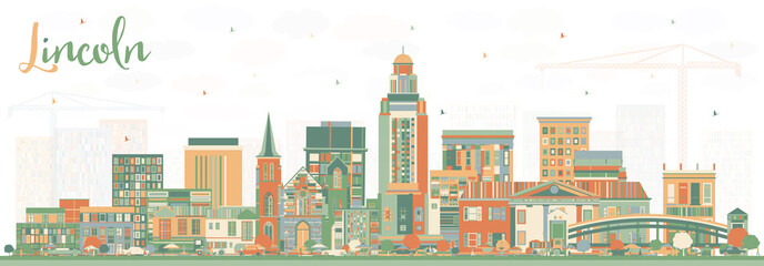 Fotomurales - Lincoln Nebraska City Skyline with Color Buildings.
