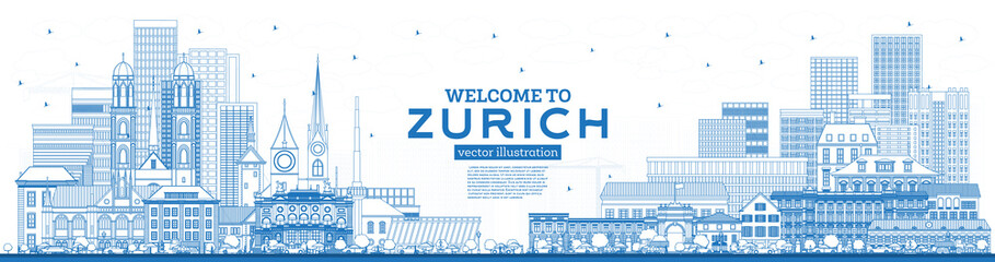 Outline Welcome to Zurich Switzerland Skyline with Blue Buildings.