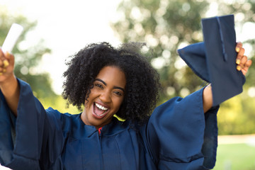 Confident African American woman at her graduation.