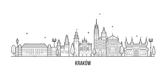 Wall Mural - Krakow skyline Poland illustration city a vector