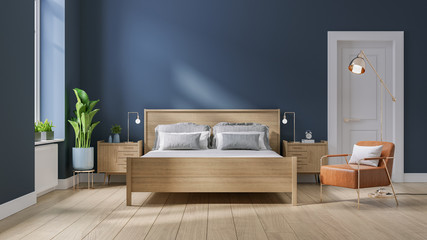 Modern mid century and minimalist interior of Bedroom ,wood bed and bedside table with  leather armchair on dark blue wall and wood floor ,3d render Fototapete