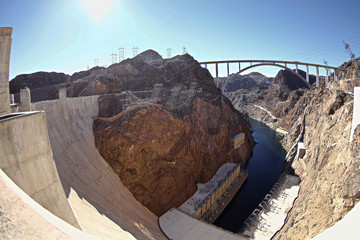 Panoramic view of Hoover Dam and bypass bridge  Hoover Dam