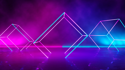 Empty Square Shaped  purple  neon  light  with  smoke ,abstract  background,ultraviolet  concept,3d render Wall mural