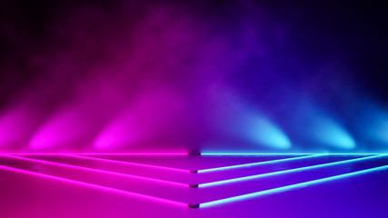 Empty triangle stage with smoke and  purple neon  light ,abstract  background,ultraviolet  concept,3d render