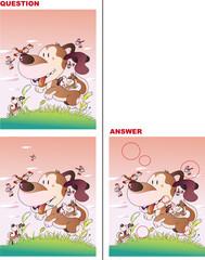 赤とんぼと犬の間違い探しクイズ
