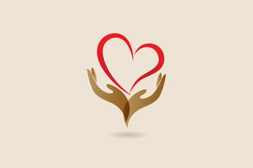 Hands and love heart logo vector