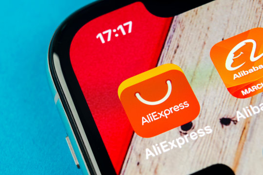 Sankt-Petersburg, Russia, September 19, 2018: Aliexpress application icon on Apple iPhone X smartphone screen. Aliexpress app icon. Aliexpress.com is popular e-commerce application. Social media icon