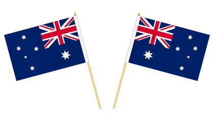 Two small Australian flags isolated on white background, vector illustration. Mini flag of Australia on pole