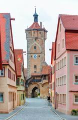 Historic town at Rothenburg Ob Der Tauber, Franconia, Bavaria, Germany