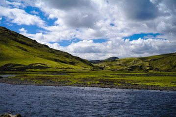 Landscape with Eldgja canyon and spring, south Iceland