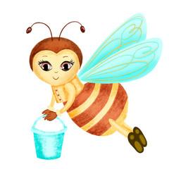Watercolor honey bee illustration carry honey illustration isolated on white background