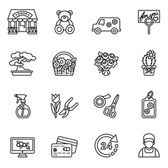 Florist, flower shop and delivery icon set with white background. Thin Line Style stock vector.