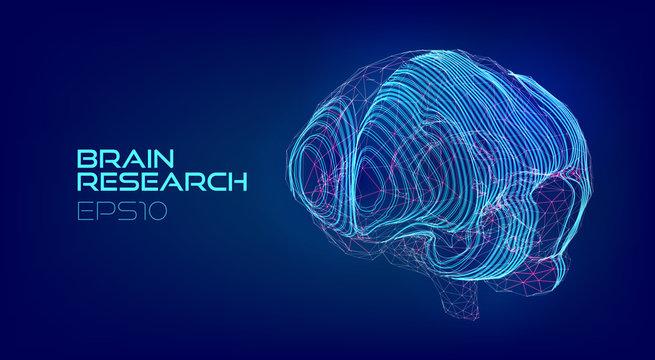 Brain scanning medical hologram. Cyberpunk biotechnology virtual