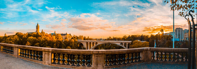 Panoramic view of historical Adolph Bridge, Luxembourg