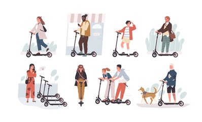 Wall Mural - Collection of funny people riding kick scooters isolated on white background. Bundle of young and elderly men and women and children on modern personal transporters. Flat cartoon vector illustration.