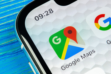 Sankt-Petersburg, Russia, June 20, 2018: Google Maps application icon on Apple iPhone X screen close-up. Google Maps icon. Google maps application. Social media network