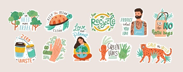 Collection of ecology stickers with slogans - zero waste, recycle, eco friendly tools, environment protection. Bundle of decorative design elements. Flat cartoon colorful vector illustration. Wall mural