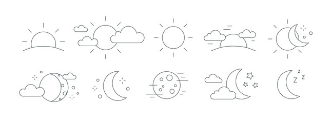 Collection of rising or setting sun, moon phases, clouds and stars symbols. Bundle of day and night time pictograms drawn with black contour lines on white background. Monochrome vector illustration. Wall mural