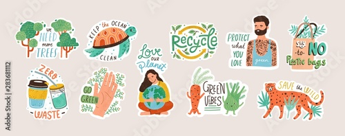 Wall mural Collection of ecology stickers with slogans - zero waste, recycle, eco friendly tools, environment protection. Bundle of decorative design elements. Flat cartoon colorful vector illustration.