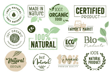 Organic food, farm fresh and natural products labels and elements collection. Vector illustration for food market, e-commerce, restaurant, healthy life and premium quality food and drink promotion. Fotomurales
