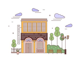 Fototapete - Cityscape with facade of elegant two-storey building of European architecture with barbershop signboard. Street view of stylish residential house. Colorful vector illustration in linear style.