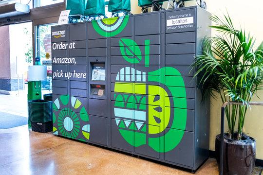 June 24, 2019 Los Altos / CA / USA - Amazon locker located inside Whole Foods in San Francisco bay area