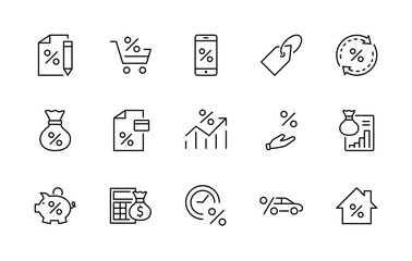 Set of Credit and Loan Related Vector Line Icons. Contains such Icons as Credit Card, Rate Calculator, Deposit and more. Editable Stroke. 320x320 Pixel Perfect