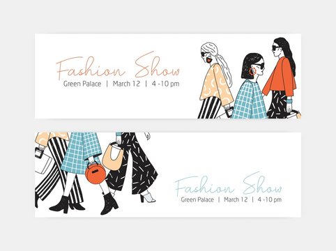 Bundle of web banner templates for fashion show with women wearing trendy haute couture clothing and demonstrating it on runway or ramp. Colorful hand drawn vector illustration for event announcement.