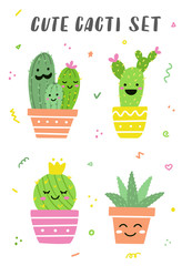 Door stickers Bestsellers Kids Cute cacti set. Fanny bright cactuses and aloe. Perfect for stickers or baby prints. Vector illustration.