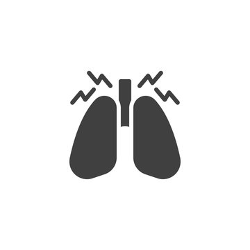 Human lungs pain vector icon. filled flat sign for mobile concept and web design. lung inflammation glyph icon. Pneumonia symbol, logo illustration. Vector graphics