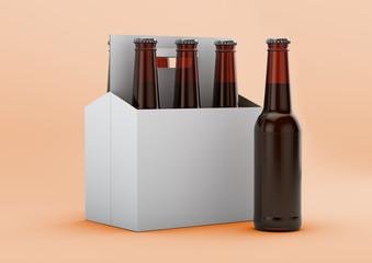 A Hero shot of a Basket of Brown Beer Bottles