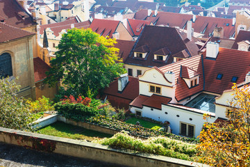 Prague traditional red roofs