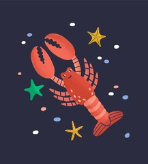 Wall Mural - Smiling lobster isolated on dark background. Amusing happy marine animal, crustacean, cute funny underwater creature living in sea. Fauna of tropical ocean. Flat cartoon colorful vector illustration.