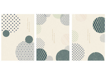 Japanese pattern with geometric background vector. Blue and green circle shape template.